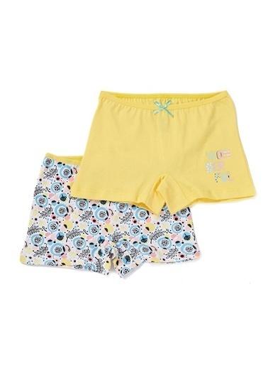 Dagi Yaprak Kız Çocuk 2'Li Boxer Sarı